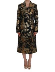 Dolce & Gabbana Black Gold Baroque Trench Coat Jacket