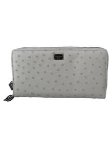 Dolce & Gabbana White Ostrich Leather Continental Mens Clutch Wallet