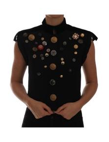 Dolce & Gabbana Black Embellished Floral Military Jacket Vest