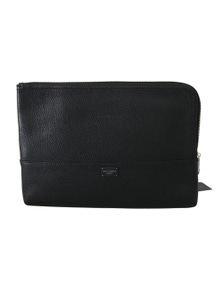 Dolce & Gabbana Black Zipper Document Hand Purse Pouch Bag
