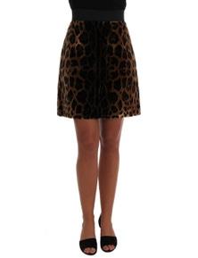 Dolce & Gabbana Brown Leopard Print Silk A-Line Skirt