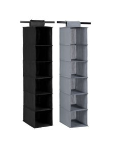 Box Sweden Mode 6 Compartment Wardrobe Storage-Assorted 2PK