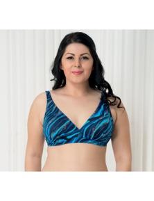 Aqua Perla Womens Bahia Blue Wave Bikini Top