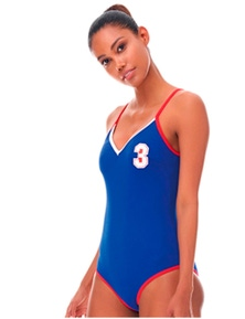 Aqua Perla Womens Team One Piece Swimwear SPF 50+