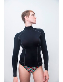 Aqua Perla Womens Sunsurf Black Rash vest SPF50+