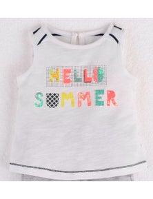 Mamino Baby Girl Desiree White Sleeveless T-Shirt