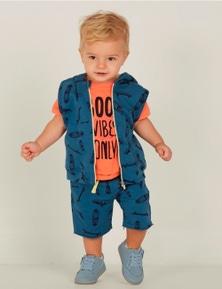Mamino Boy Atom Top Blue Sleeveless Hoodie