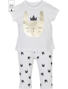 Mamino Baby Girl Baskili White Printed Pant and White Tee Shirt Pajama Set