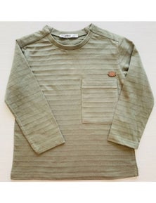 Mamino Boy Haki T-Shirt With Chest pocket