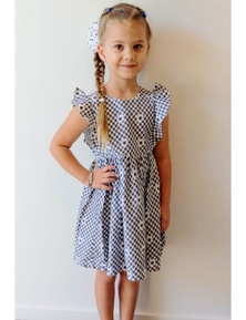 Mamino Girl Elisa Gingham Print with Flowers Dress