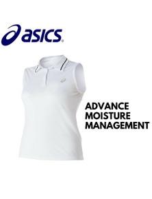 ASICS Women's Club Sleeveless Polo Top Tennis Workout - White