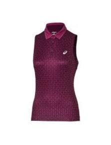 ASICS Women's Club Sleeveless Polo Top Tennis - Plum Dashed Line