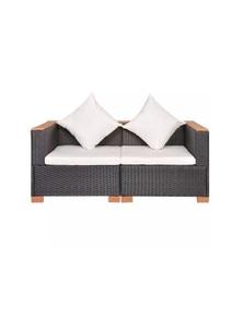6 Piece Garden Sofa Set Poly Rattan Wpc Top
