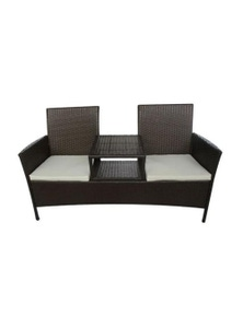 2 Seater Garden Sofa With Tea Table Poly Rattan