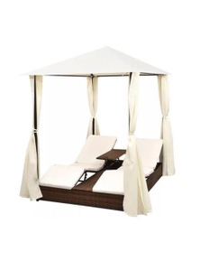 Double Sun Lounger with Curtains Poly Rattan