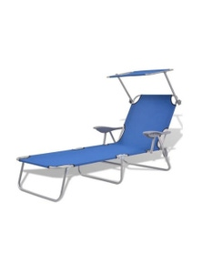 Sun Lounger With Canopy Steel