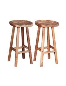 Bar Stools 2 Pieces Solid Acacia Wood
