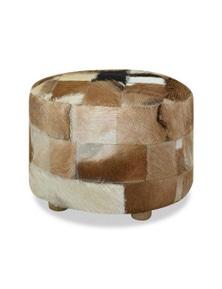 Pouffe Genuine Leather Round