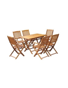 Outdoor Dining Set 7 Pieces Solid Acacia Wood