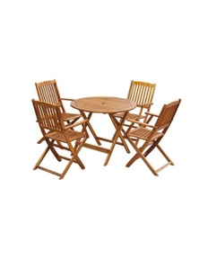 Outdoor Dining Set 5 Pieces Acacia Wood Folding Round