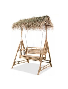 2 Seater Swing Chair With Palm Leaves Bamboo