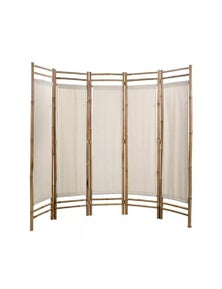 Folding 5 Panel Room Divider Bamboo And Canvas