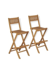 Folding Outdoor Bar Stools 2 Pieces Solid Teak Wood