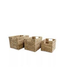 Storage Basket Set 3 Pieces Water Hyacinth