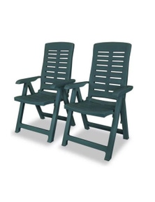 Reclining Garden Chairs 2 Pieces Plastic