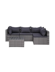 5 Piece Garden Sofa Set With Cushions And Pillows Poly Rattan