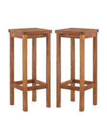 Bar Chairs 2 Pieces Solid Acacia Wood