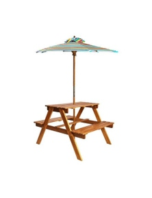 Kids Picnic Table With Parasol Solid Acacia Wood