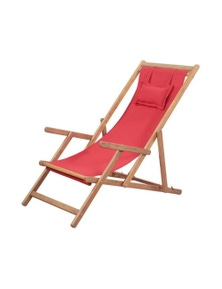 Folding Beach Chair Fabric And Wooden Frame