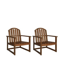 Garden Sofa Chairs 2 Pieces Solid Acacia Wood
