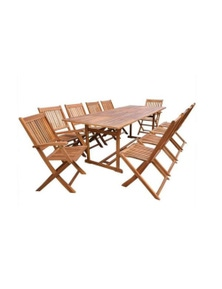 11 Piece Outdoor Dining Set Solid Acacia Wood
