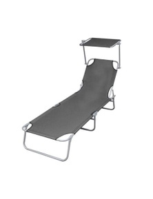 Folding Sun Lounger With Canopy Steel