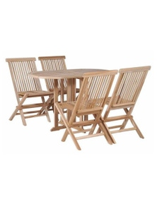 5 Piece Folding Outdoor Dining Set Solid Teak Wood Untreated