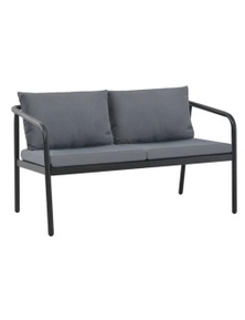 2 Seater Garden Bench With Cushions Aluminium