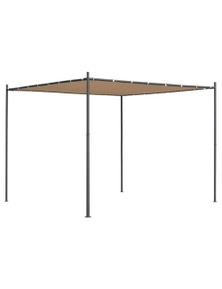 Gazebo With Flat Roof Polyester With Pa Coating