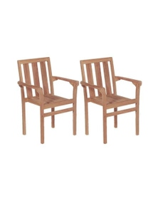 2 Pieces Stacking Garden Chairs Solid Teak Wood