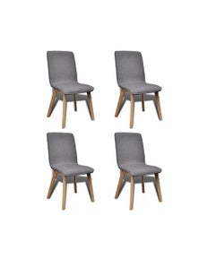 Dining Chairs 4 Pieces Light Fabric And Solid Oak Wood