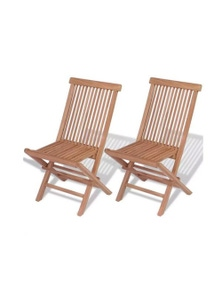 Folding Garden Chairs 2 Pieces Solid Teak Wood