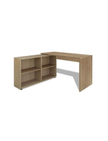 Corner Desk 4 Shelves Oak