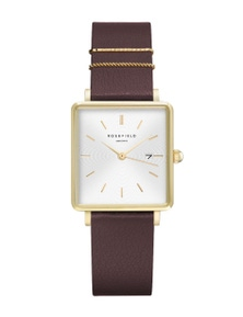 Rosefield The Boxy Yellow Gold Tone Leather Strap Watch