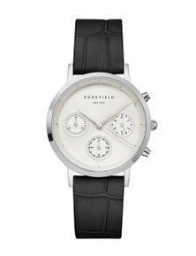 Rosefield Gabby White Dial Leather Strap Watch