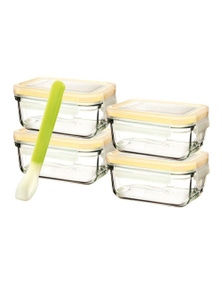 Glasslock 5 Piece Baby Food Container Set With Lids - Rectangle