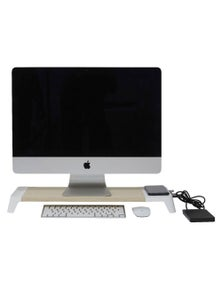 Pout Eyes 8 3-In-1 Monitor Stand Hub W/ Wireless Charging Pad