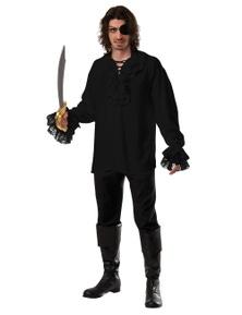 Rubies Ruffled Pirate Shirt - Black Costume