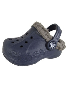 Crocs Kids Baya Lined Clog Shoes Childrens Unisex - Navy/Smoke