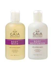 Gaia 2x250ml Organic Lavender/Frankiencense Body Wash/Moisturiser Vegan Friendly